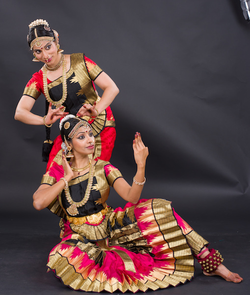 Akam poems focus on love. Shown here are is a friend (Lavanya Govindarajan) dressing up the heroine (Prathiba Natesan Batley). Photo Credit: Prasad Golkonda
